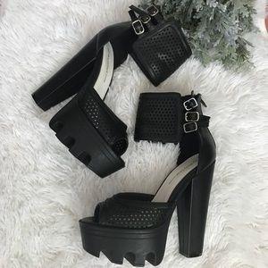 High Heel Platform Ankle Strap Sandal Size 6.5